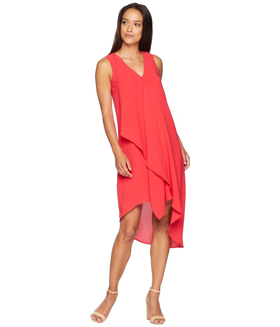 Adrianna Papell - Asymmetrical Front Drape Dress (Geranium) Womens Dress