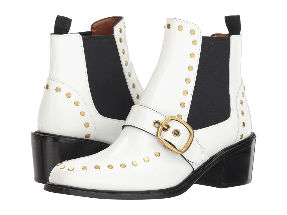 COACH Nora Chelsea Bootie with Studs (White Spazz)
