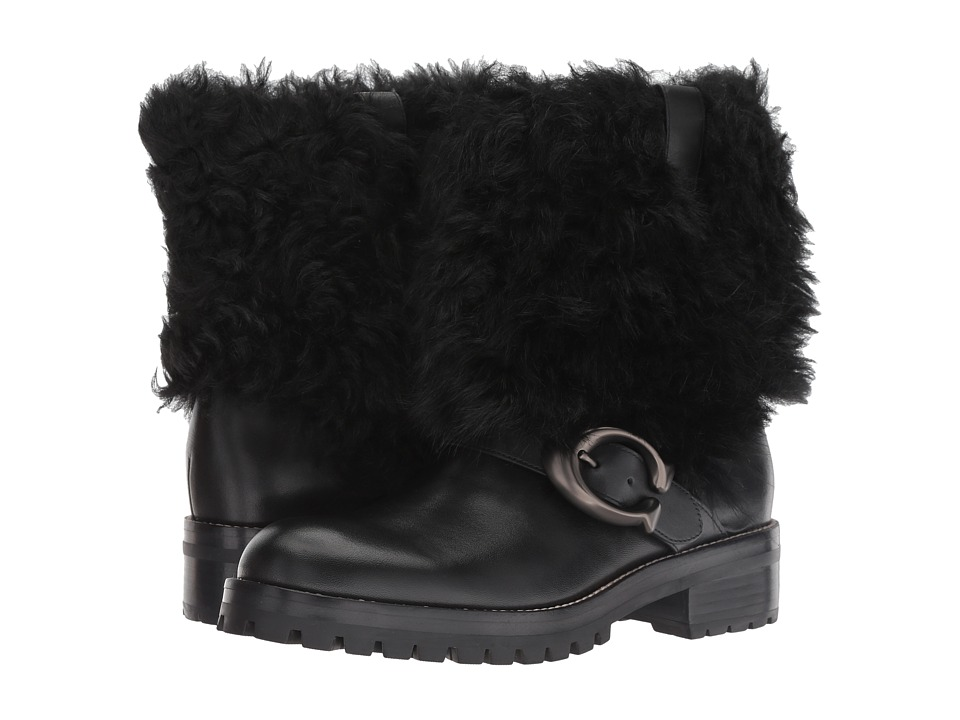 COACH Leighton Bootie with Signature Buckle (Black/Black Leather)