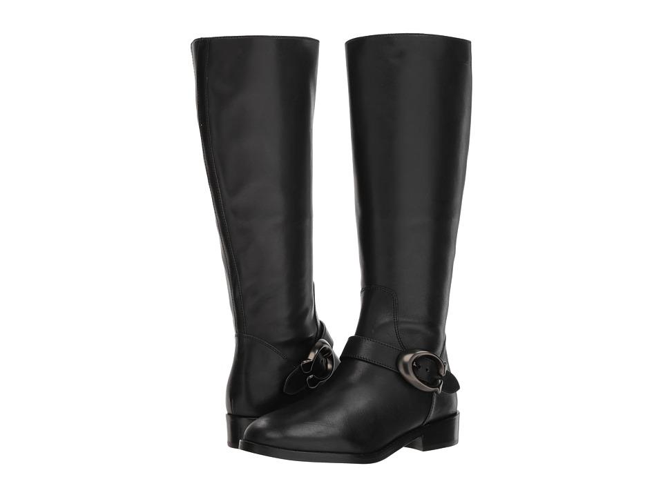COACH Brynn Signature Buckle Riding Boot (Black Extra Calf)