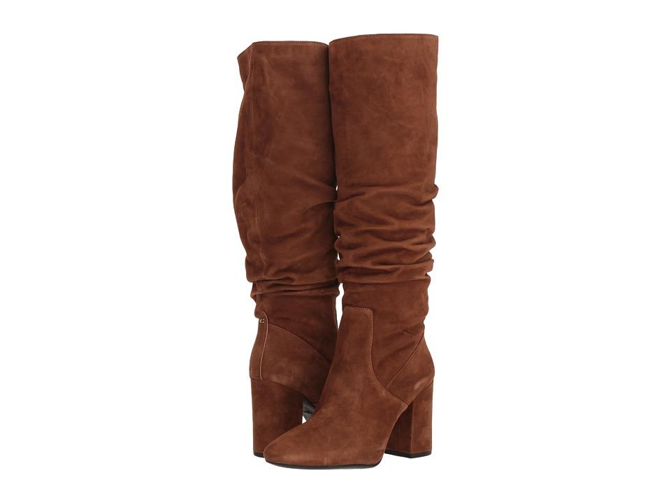 COACH Graham Slouchy Heel Boot (Cognac Suede)