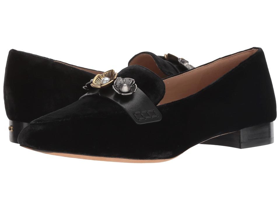 COACH Naomi Loafer with Tea Rose (Black Velvet) Slip-On Shoes