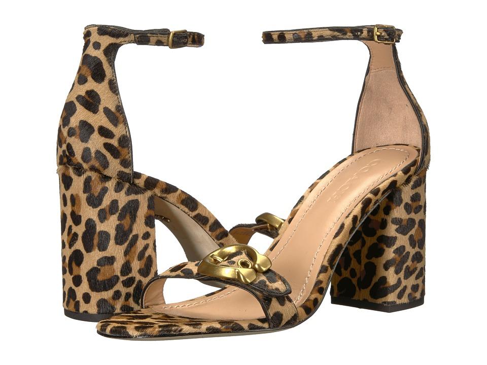 COACH Maya 85mm Sandal with Signature Buckle (Natural Haircalf) High Heels
