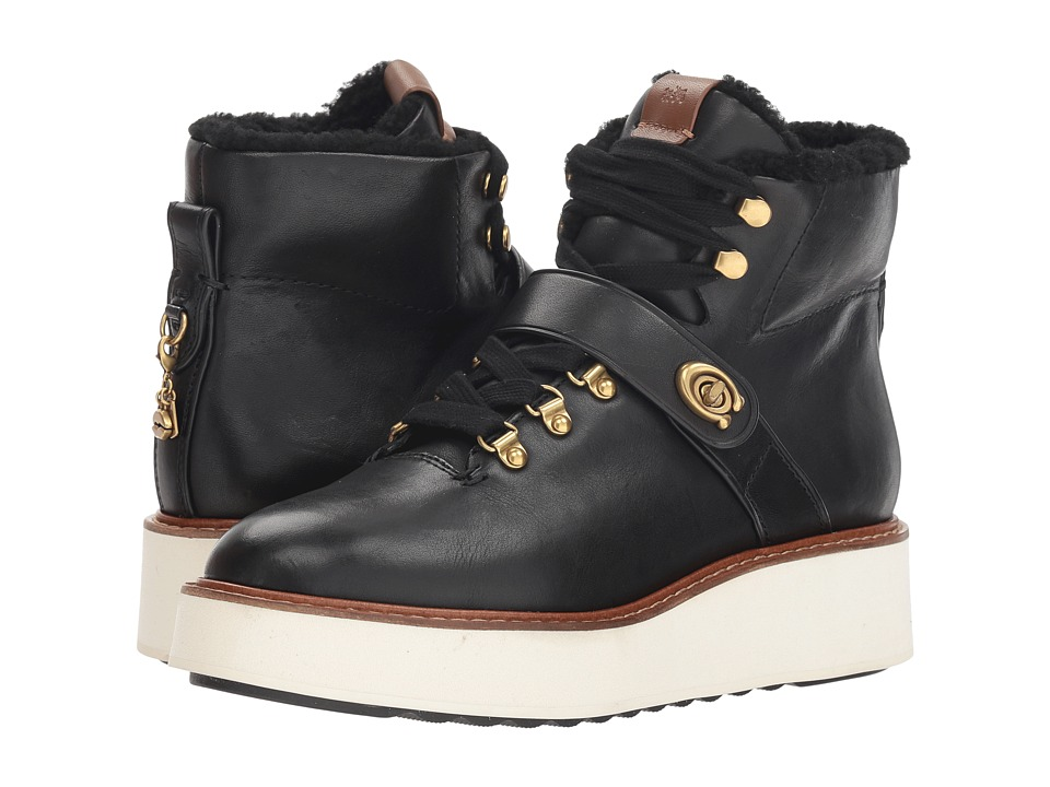COACH Urban Hiker with Signature Buckle (Black Leather) Women's Shoes
