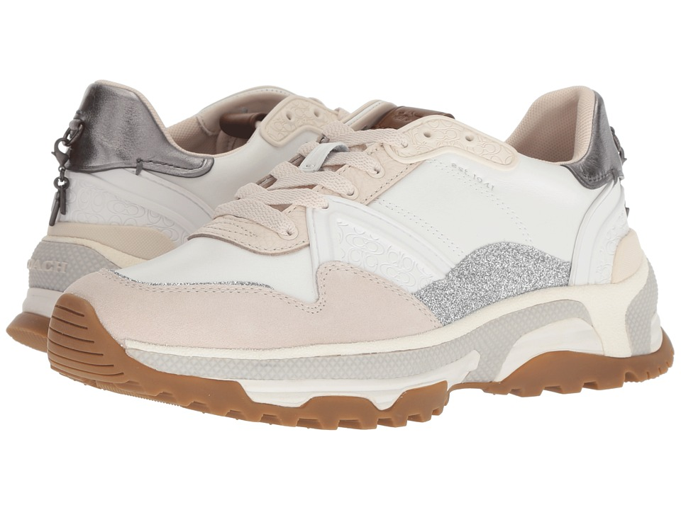COACH C143 Runner with Glitter (White/Chalk Leather/Suede) Women's Shoes
