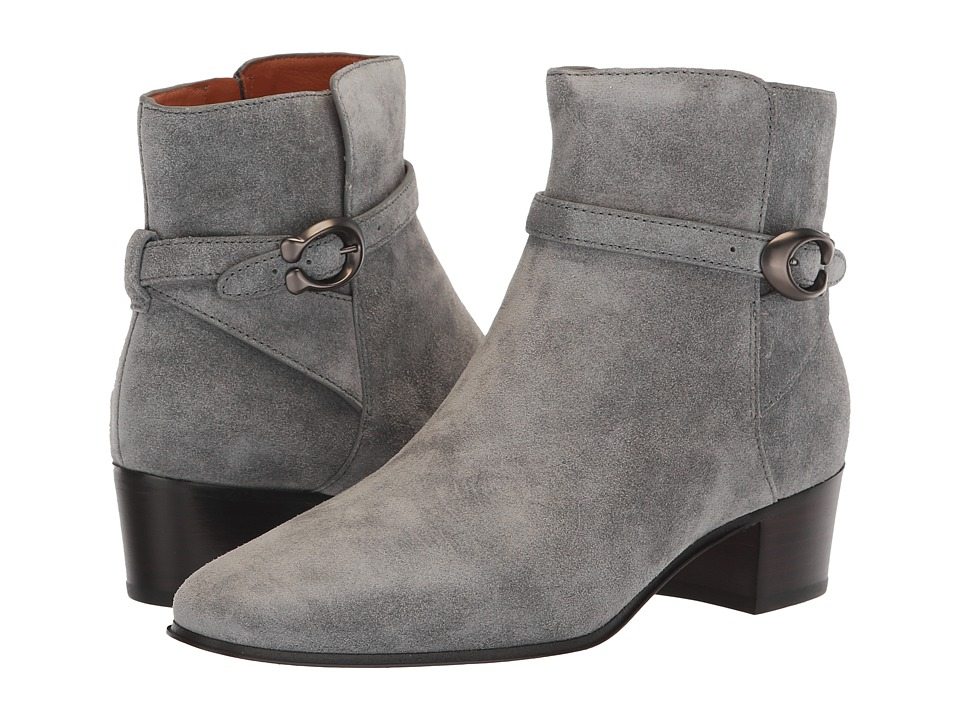 COACH Chrystie Bootie with Signature Buckle (Heather Grey Suede)
