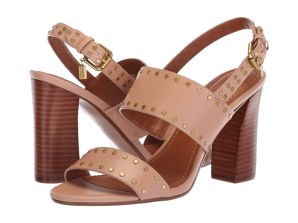 COACH Rylie Heel Sandal (Pale Blush Leather) Sandals