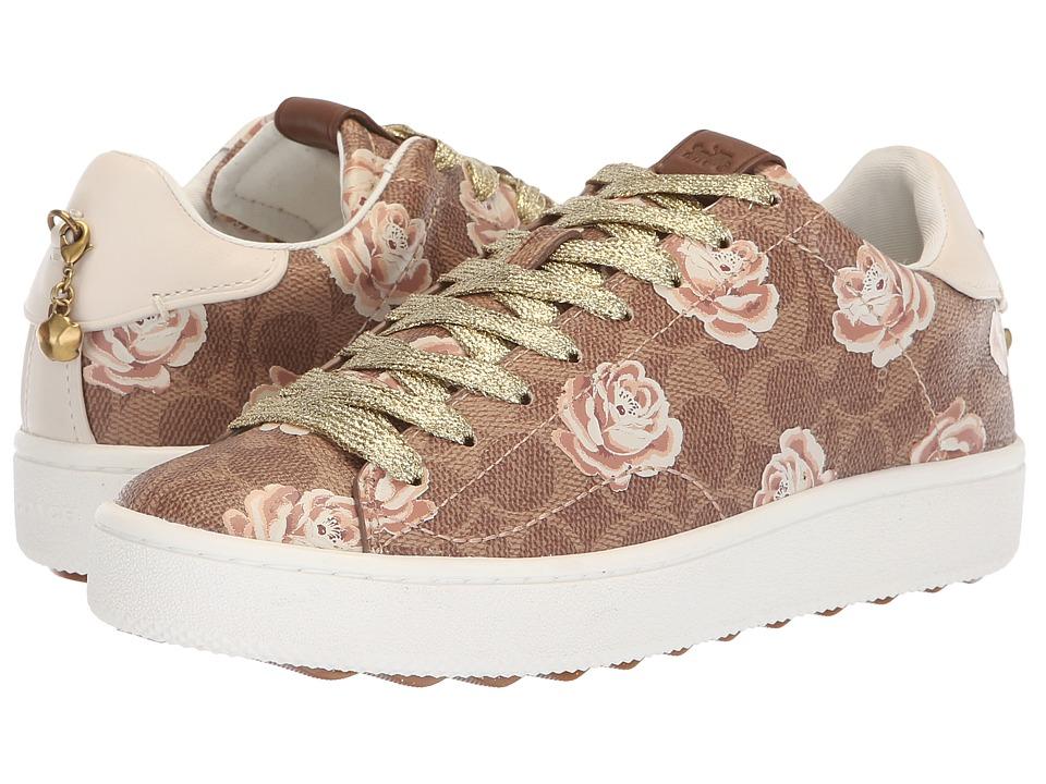 COACH C101 Low Top Sneaker with Floral Print (Tan/Chalk) Women's Shoes