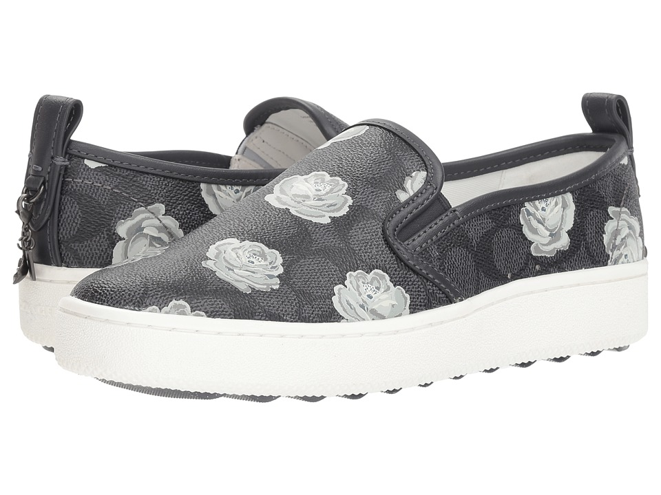 COACH C115 Slip-On Sneaker with Floral Print (Charcoal/Midnight Navy Coated Canvas) Women's Shoes