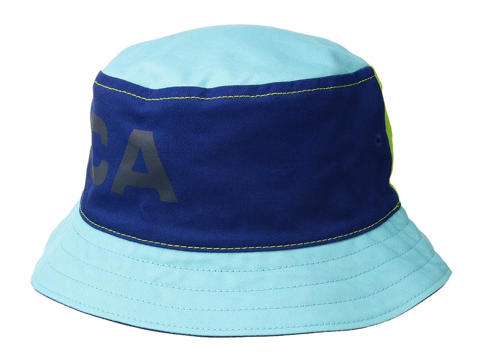 Nautica - Reversible Large Logo Print Bucket Hat (Monaco Blue) Caps