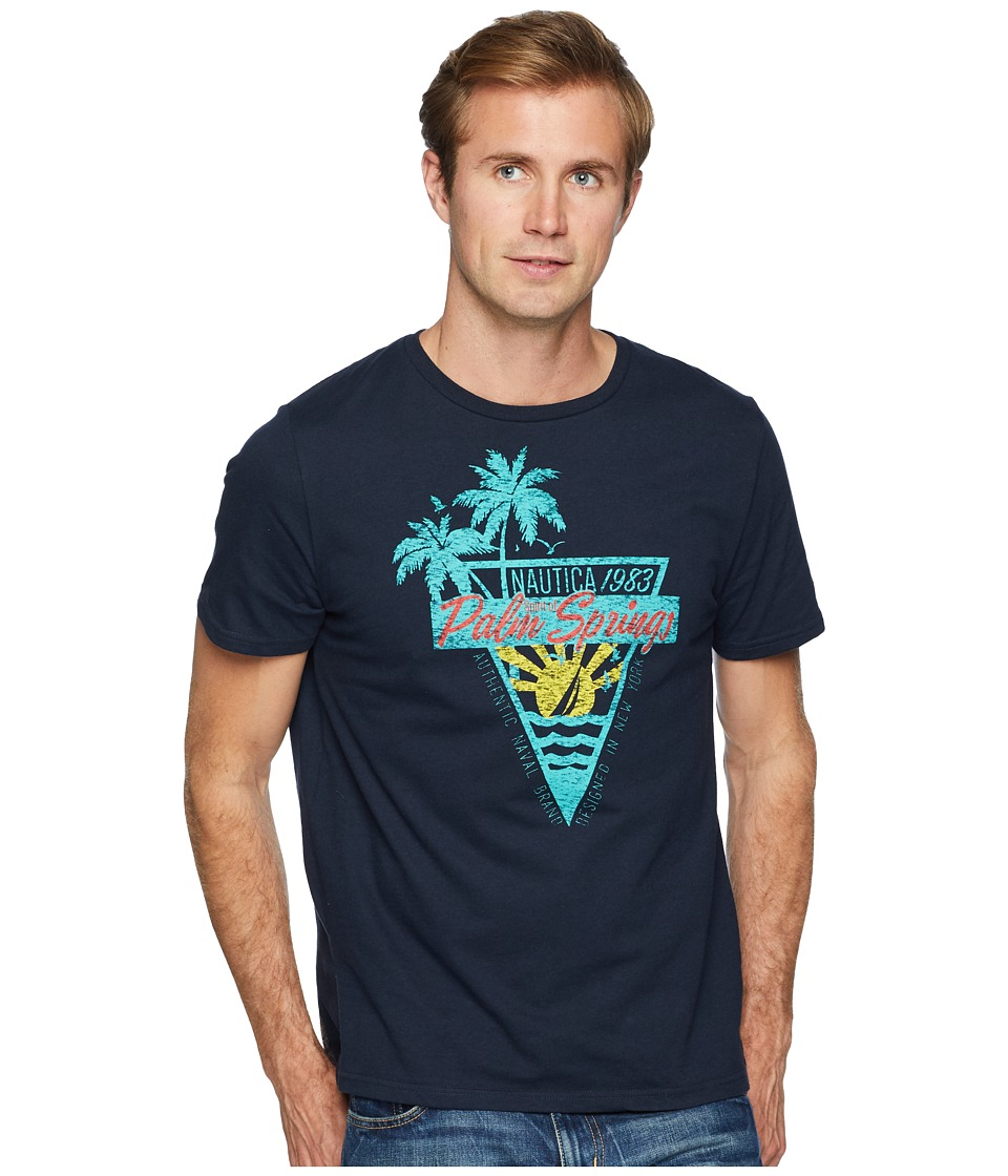 Nautica - Palm Springs Crew T-Shirt (True Navy) Mens Clothing