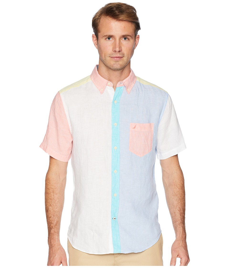 Nautica - Short Sleeve Linen Pieced Fashion (Bright White) Mens Clothing