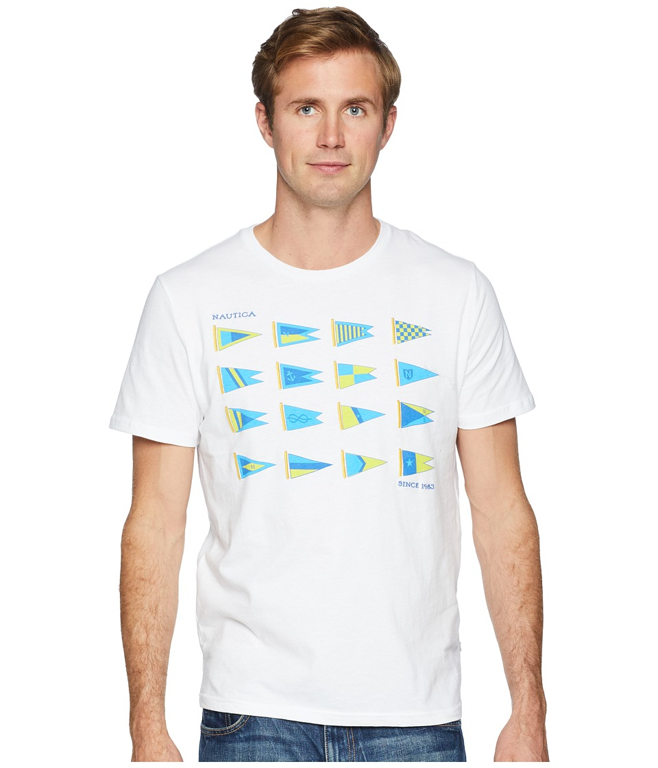 Nautica - Heritage Sail Flags Crew T-Shirt (Bright White) Mens Clothing