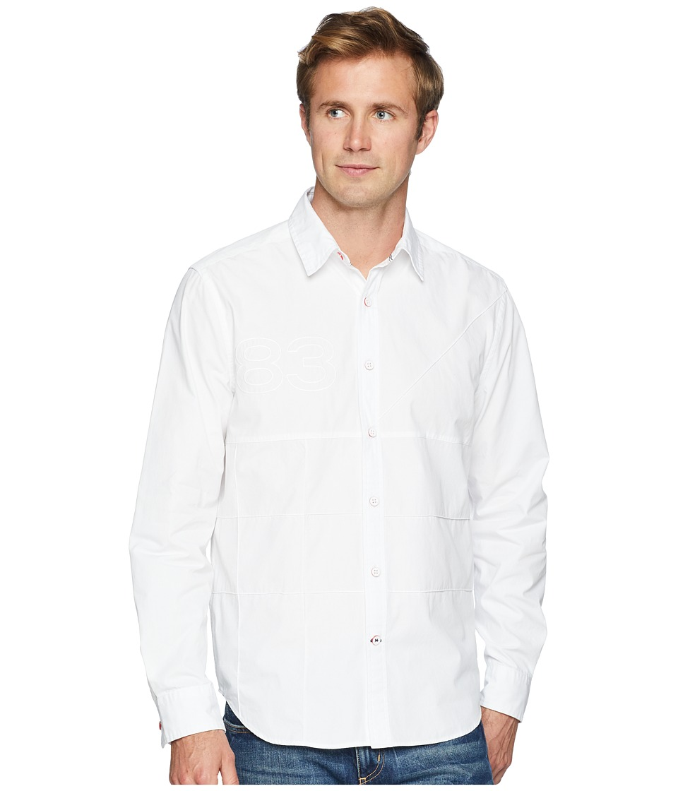 Nautica - Long Sleeve Pieced Woven Shirt (Bright White) Mens Clothing