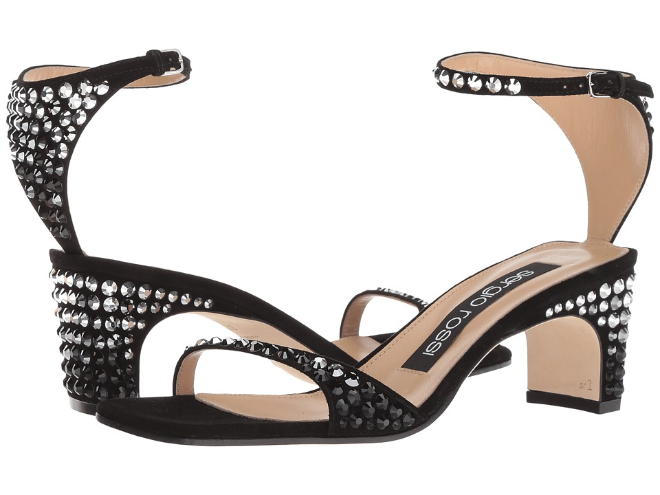 Sergio Rossi A78010-MFN354 (Black/Strass) 1-2 inch heel Shoes