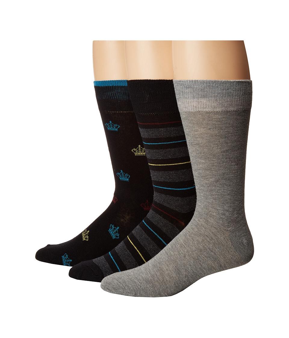 Steve Madden 3-Pack Novelty Print/Stripe Crew Socks (Black/Grey) Men