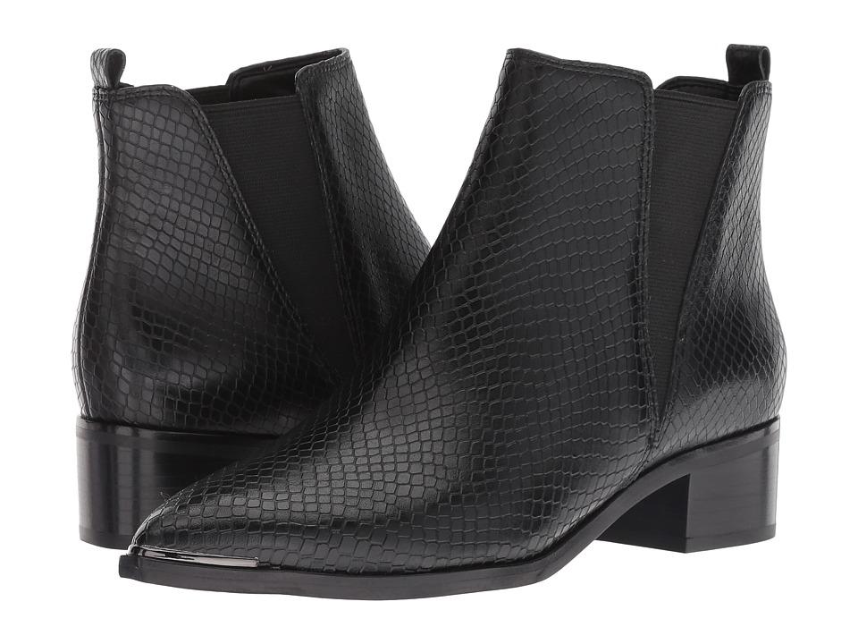 Marc Fisher LTD Yale (Black/Black Embossed Cow Snake/Gore) Women's Dress Pull-on Boots