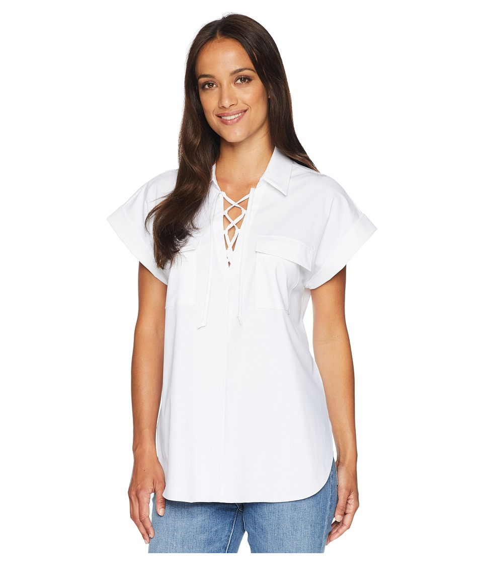 Lysse - Clio Pop-Over Top (White) Womens Clothing