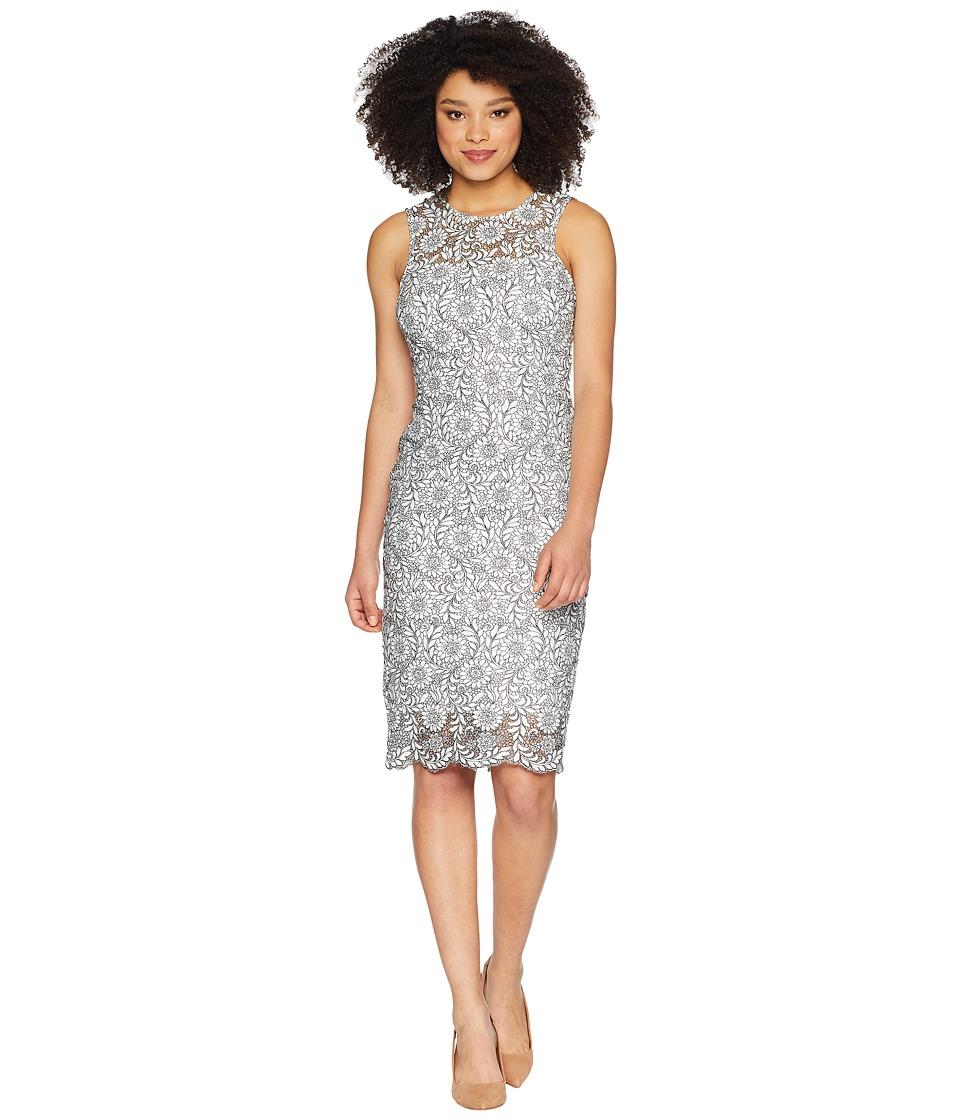 Calvin Klein - Lace Sheath Dress CD8L54CY (White/Black) Womens Dress