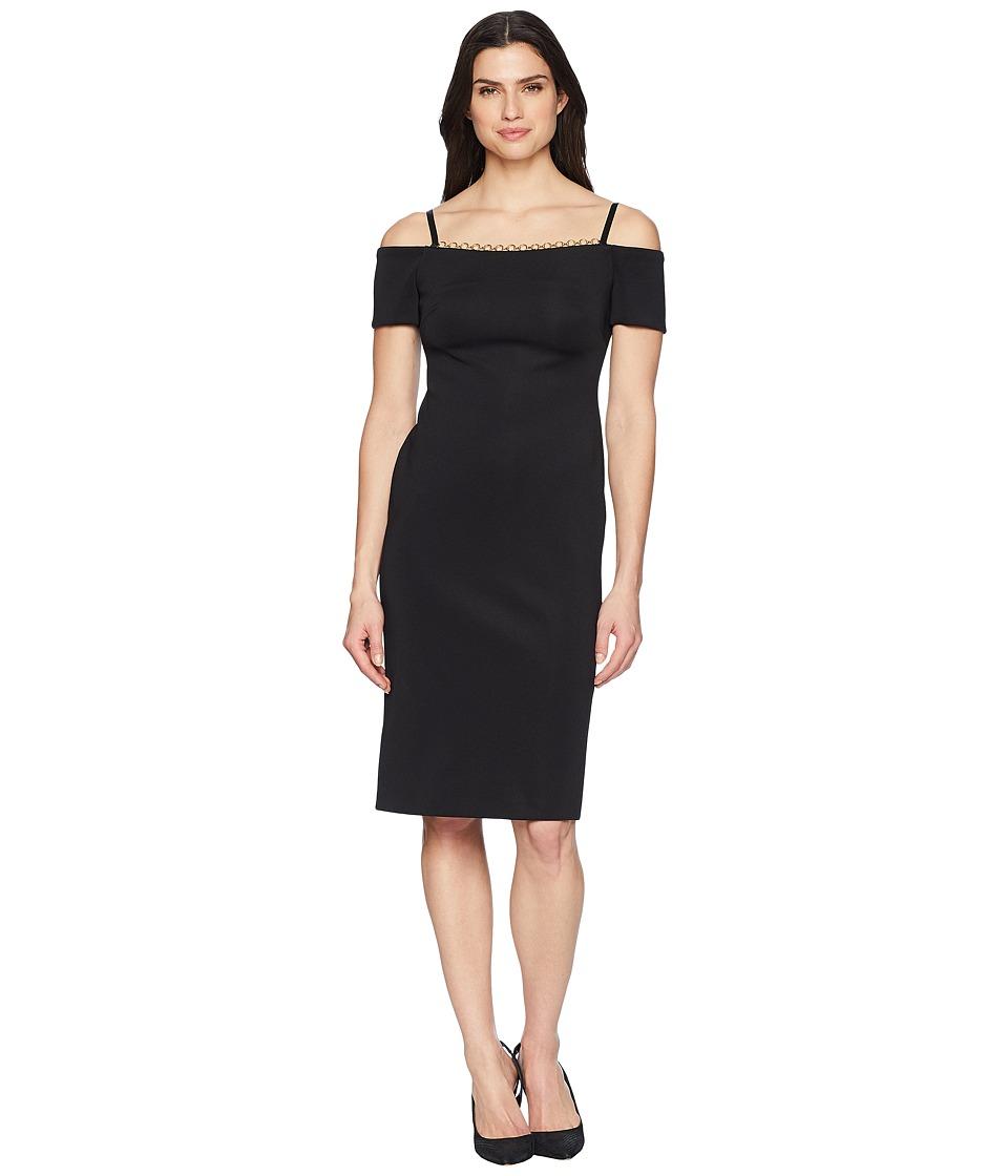 Calvin Klein - Chain Detail Neck Cold Shoulder Sheath Dress CD8M18MF (Black) Womens Dress