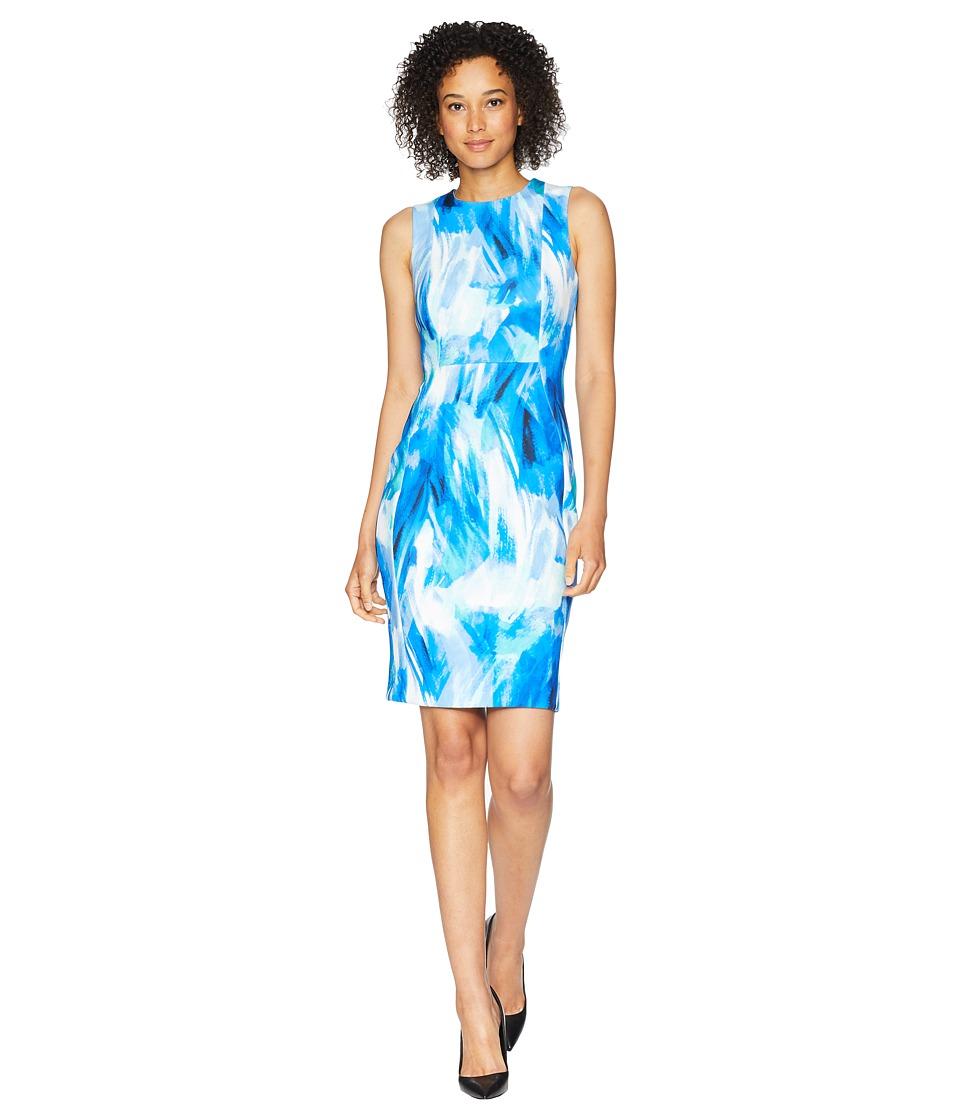 Calvin Klein - Brush Stroke Print Sheath Dress (Regatta Multi) Womens Dress