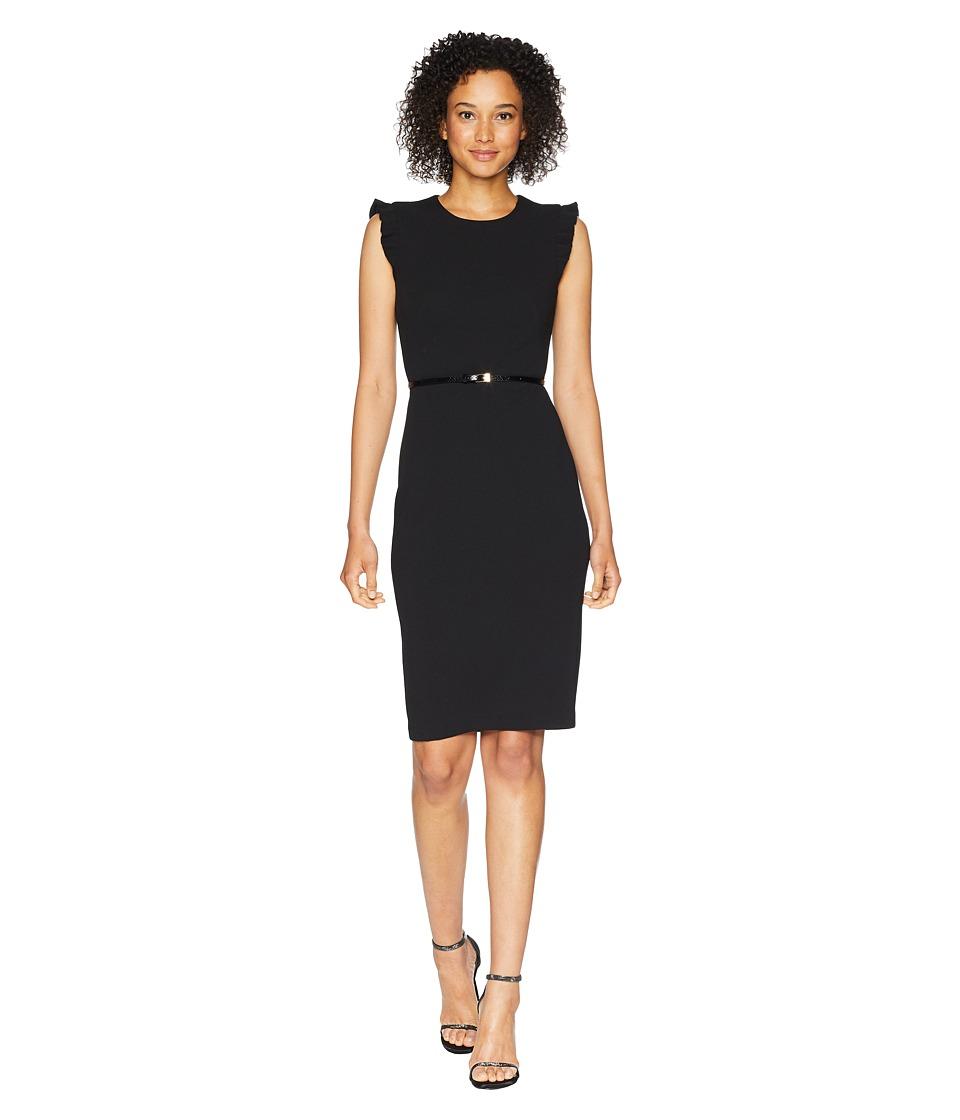 Calvin Klein - Belted Flutter Sleeve Sheath Dress CD8C18MW (Black) Womens Dress