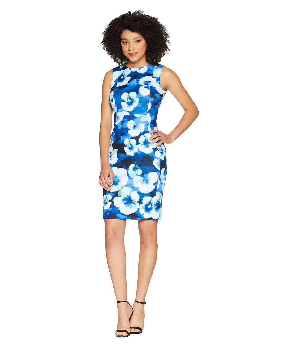 Calvin Klein - Floral Printed Sheath Dress CD8M25LM (Regatta Multi) Womens Dress