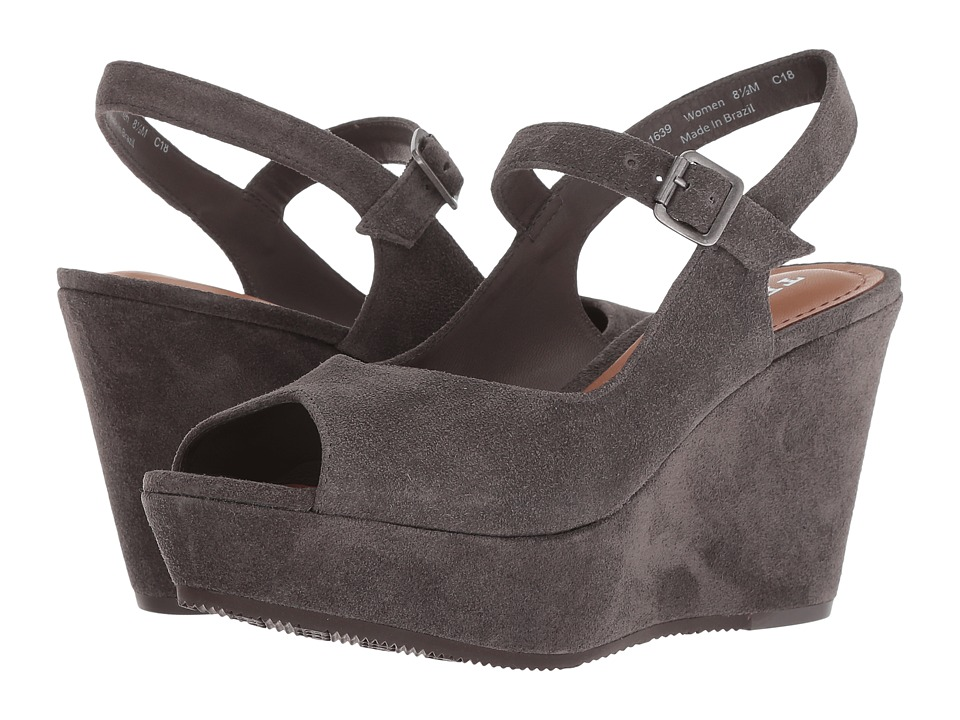 Trask Tessa (Grey Oiled Suede) Wedges