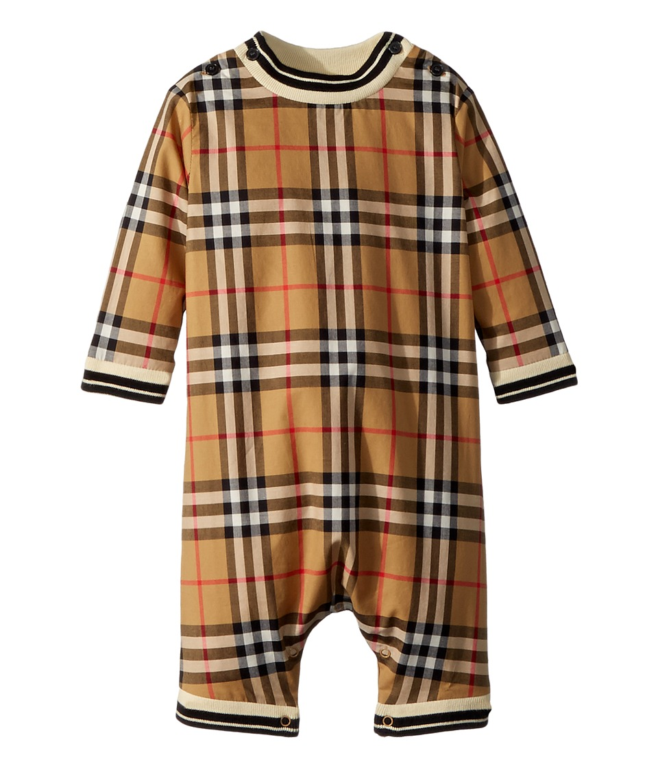 Burberry Kids - Michael Long Sleeve Overalls (Infant) (Antique Yellow IP Check) Kids Overalls One Piece