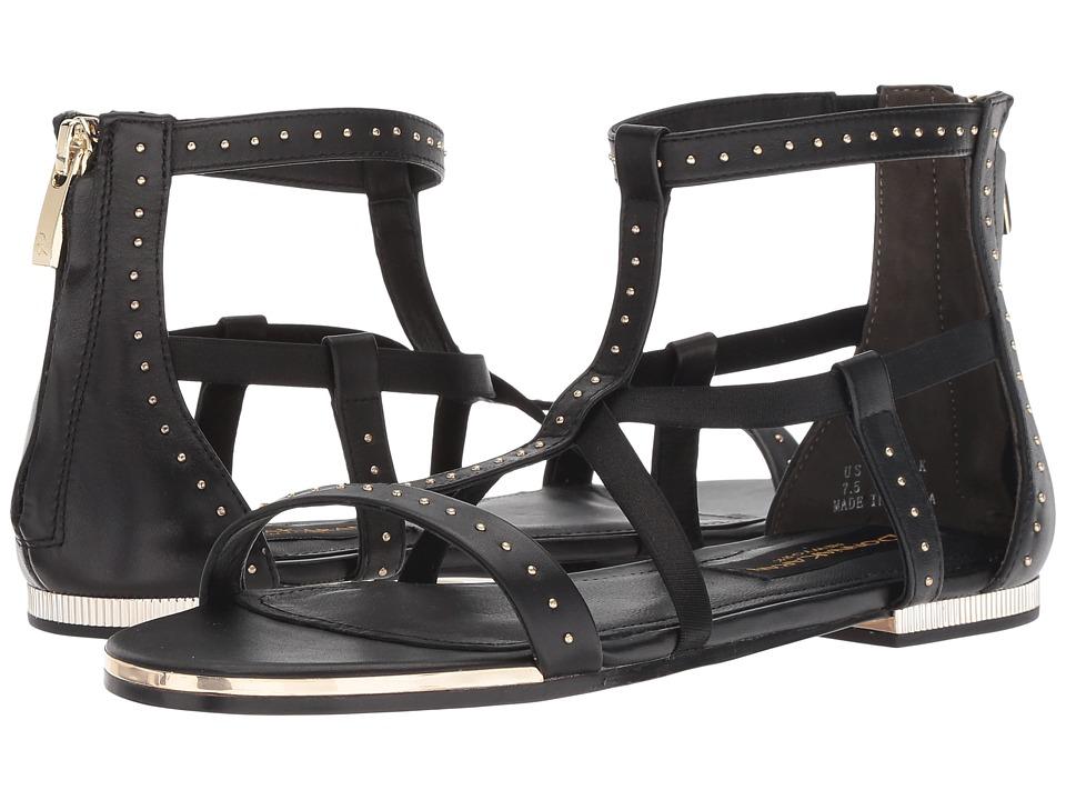 Donna Karan Kim (Black Baby Calf/Shiny Satin Elastic) Sandals