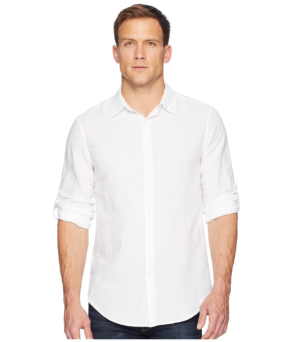 Perry Ellis - Slim Fit Solid Linen Roll Sleeve Shirt (Bright White) Mens Clothing