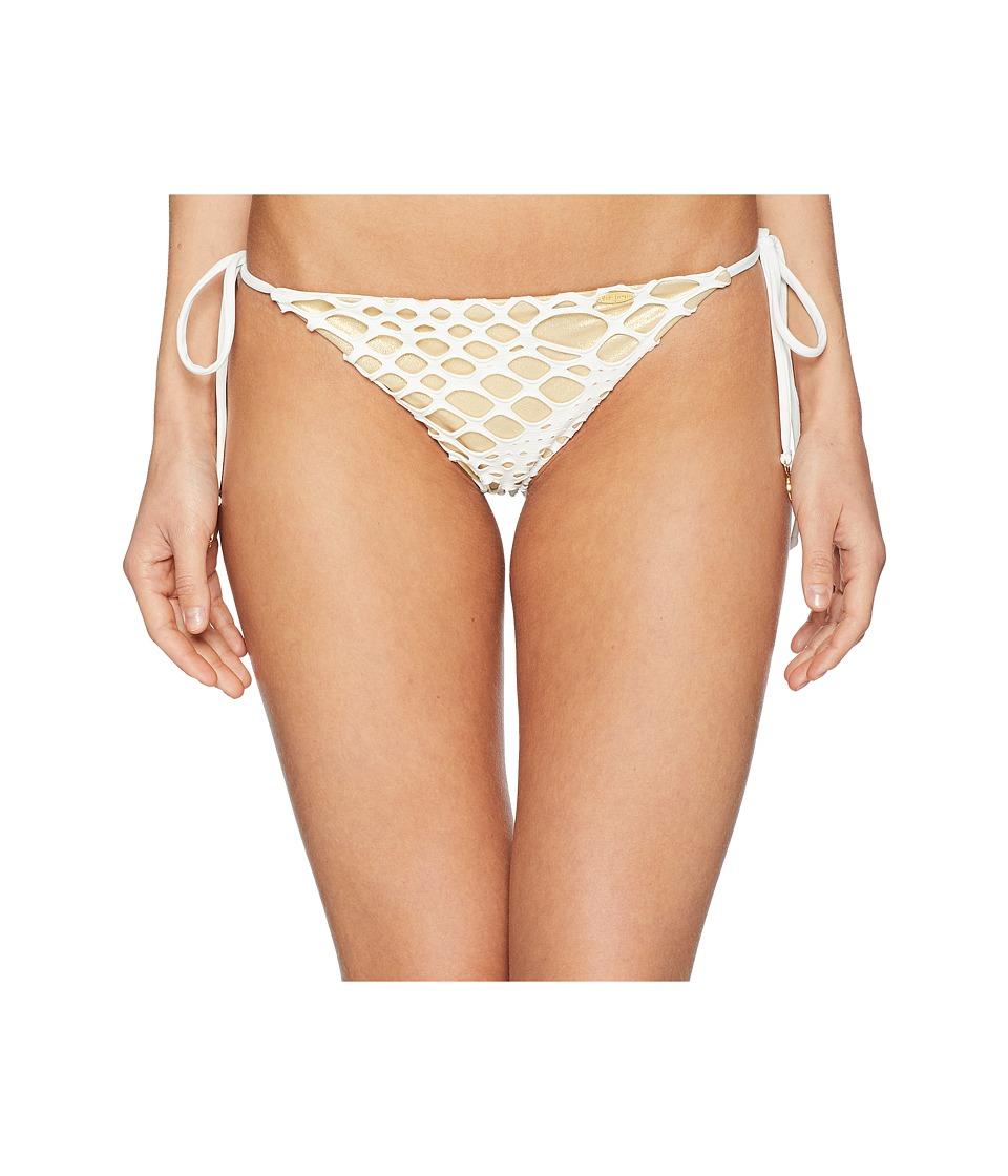 Luli Fama - La Cabana Seamless Ruched Back Brazilian Tie Side Bottom (Off-White) Womens Swimwear