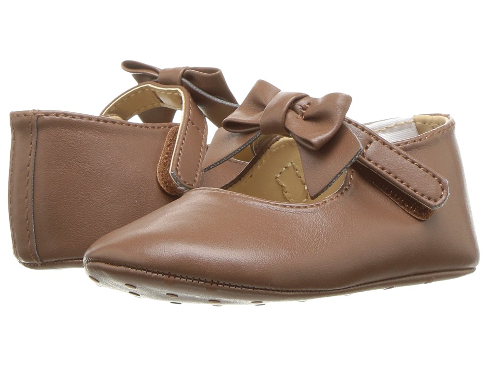 1920s Children Fashions: Girls, Boys, Baby Costumes Janie and Jack Faux Leather Bow Ballet Infant Brown Girls Shoes $36.00 AT vintagedancer.com