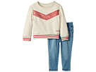 Hudson Kids Two-Piece Oatmeal French Terry Pullover with Sequin Piecing, Stretch Denim Leggings (Infant)