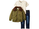 Hudson Kids Poly Puffer Jacket with Sherpa Collar, Oatmeal Heather Jersey Tee, Stretch Denim Jeans (Toddler)