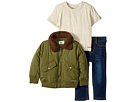 Hudson Kids Poly Puffer Jacket with Sherpa Collar, Oatmeal Heather Jersey Tee, Stretch Denim Jeans (Infant)