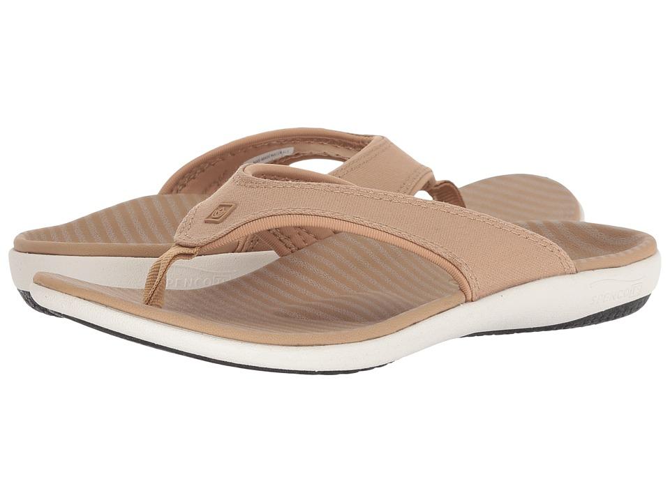 Spenco Yumi Canvas Stripe Sandal (Tan) Women's Shoes