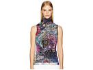 FUZZI Sleeveless T-Neck Floral Patch Print