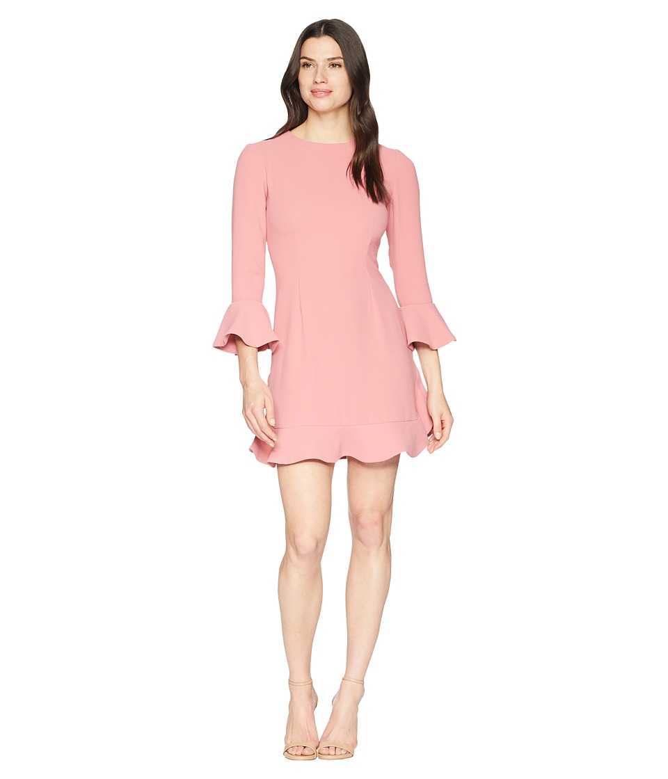 JILL JILL STUART - Crepe Short Dress with Bell Long Sleeves (Rosewood) Womens Dress