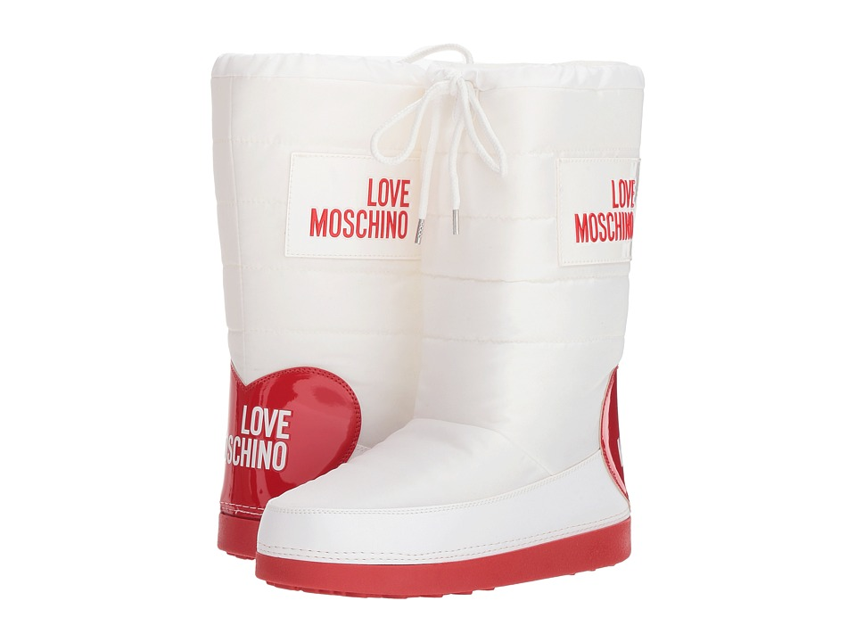 LOVE Moschino Snow Boot (White/Red Logo)