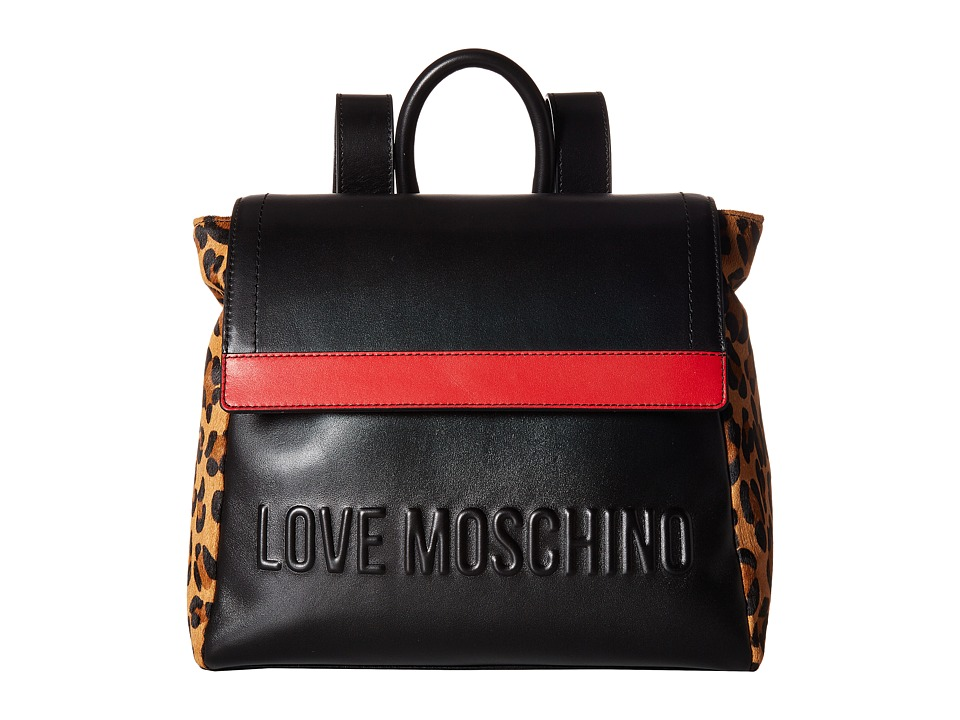 Love Moschino Animal Block Backpack (Black/Red/Leopard) Backpack Bags KUtMNLYZ3M