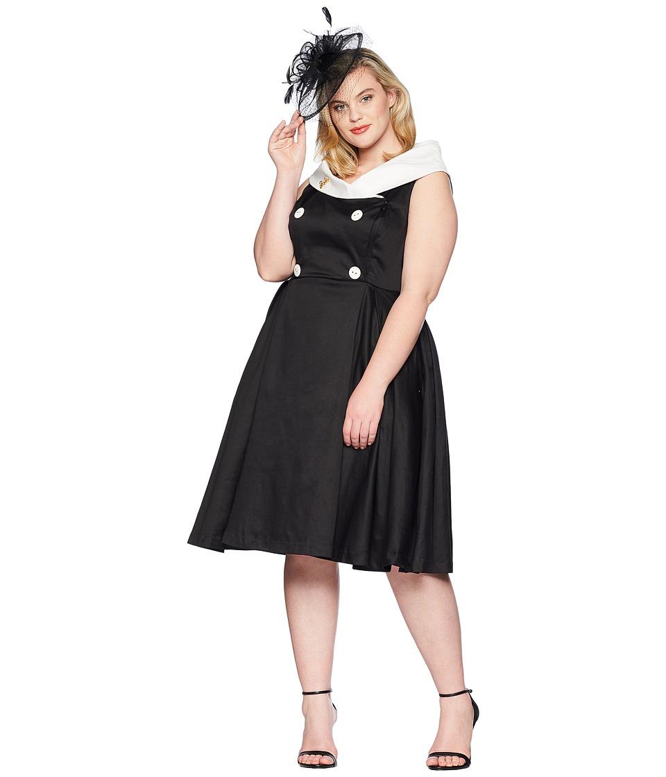 Unique Vintage - Plus Size Barbie x UV After Five Swing Dress (Black/White) Womens Dress