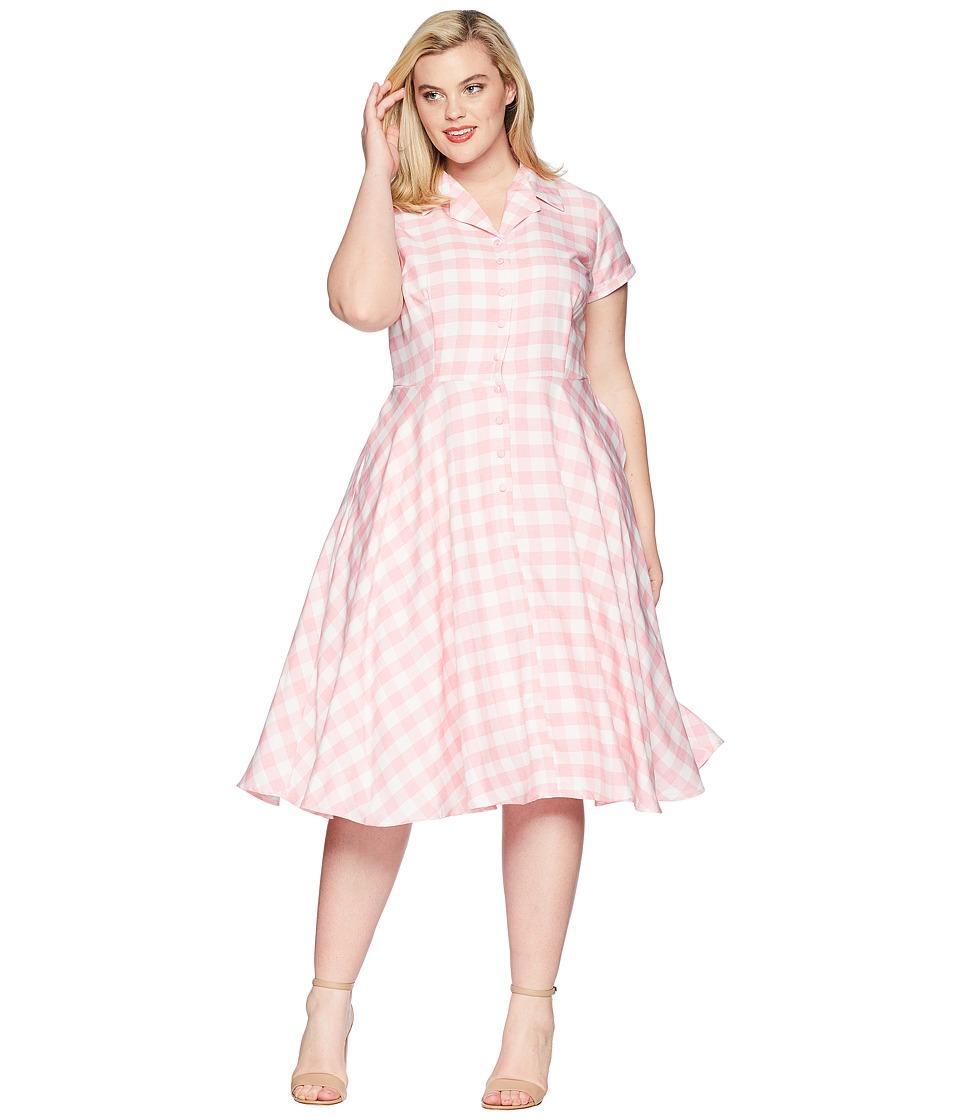 Unique Vintage - Plus Size Alexis Short Sleeve Swing Dress (Pink Gingham) Womens Dress
