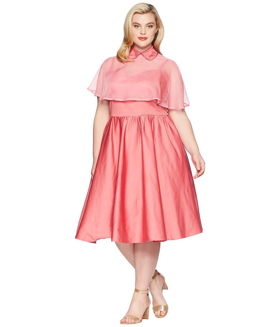 UniqueVintage Plus Size Luna Swing Dress Mesh Capelet (Co...