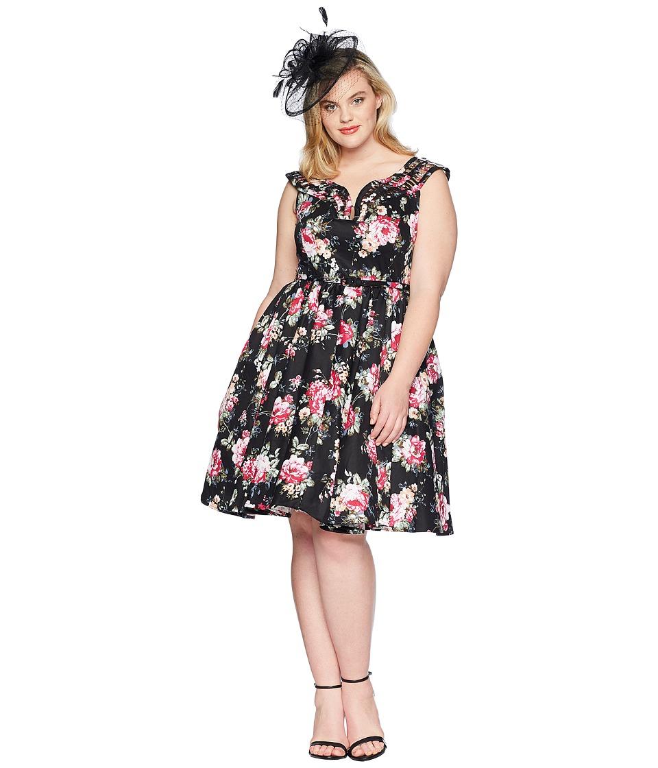 Unique Vintage - Plus Size Olive Swing Dress (Black Floral) Womens Dress