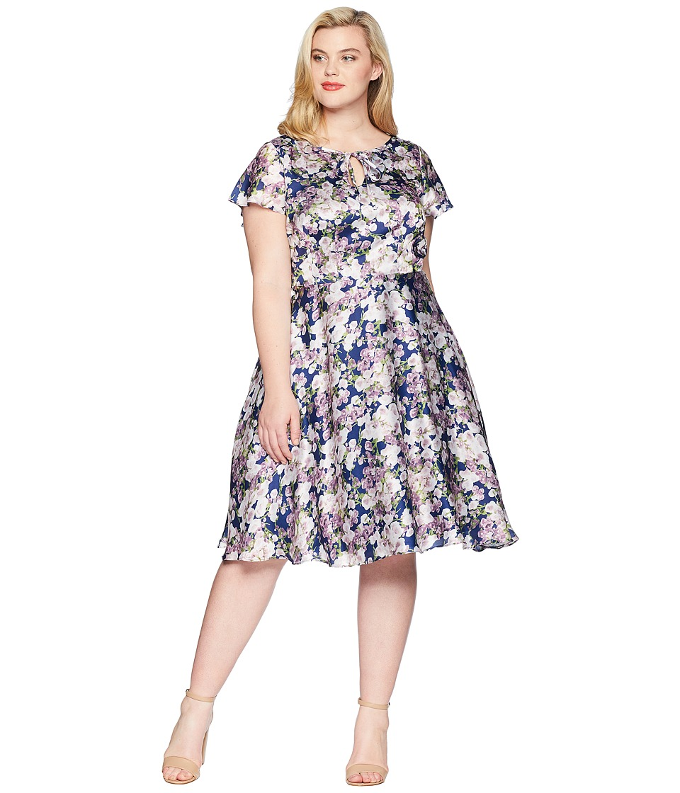 Unique Vintage - Plus Size Formosa Dress (Navy/Purple Floral) Womens Dress