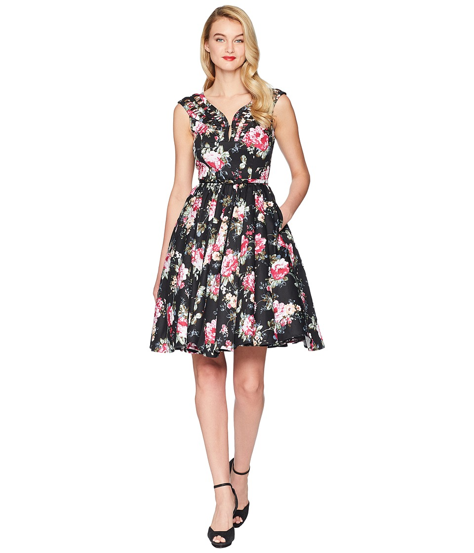 Unique Vintage - Olive Swing Dress (Black Floral) Womens Dress