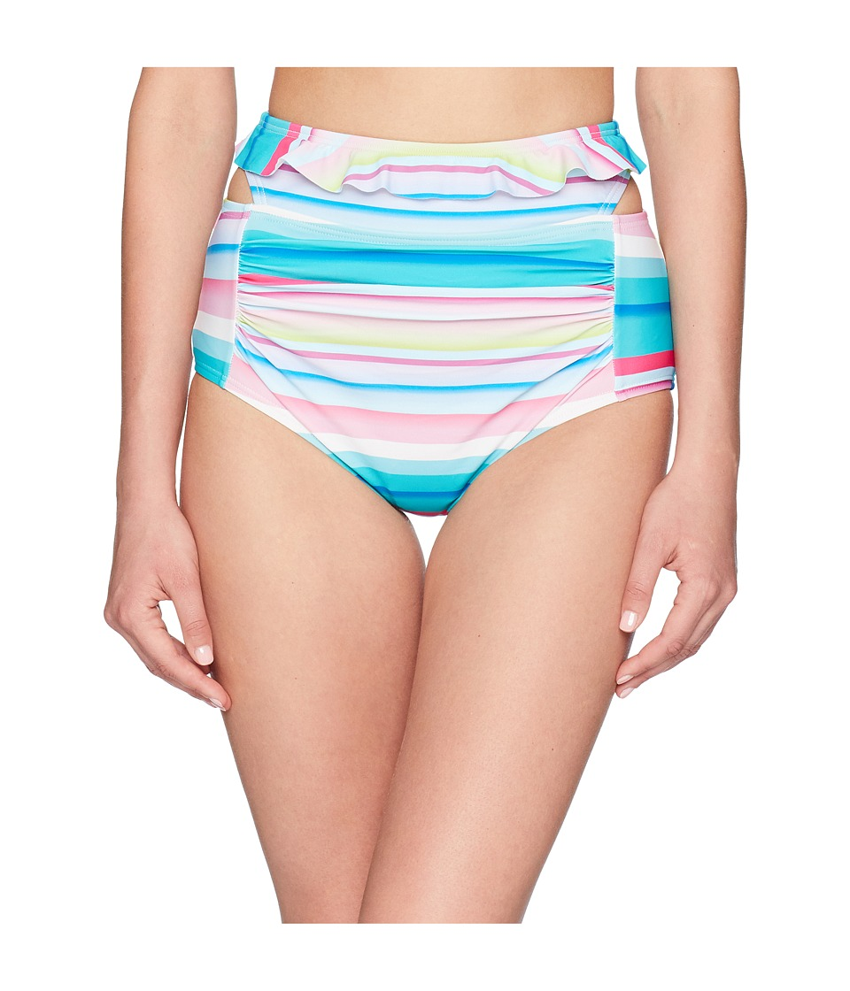 Unique Vintage - Elsie Ruffled Bottom (Bright Multi Stripes) Womens Swimwear