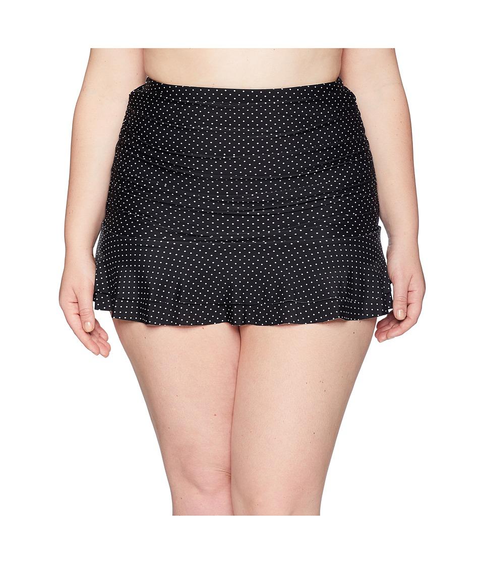 Unique Vintage - Plus Size High-Waist Alice Swim Bottom (Black/Ivory Pin Dot) Womens Swimwear