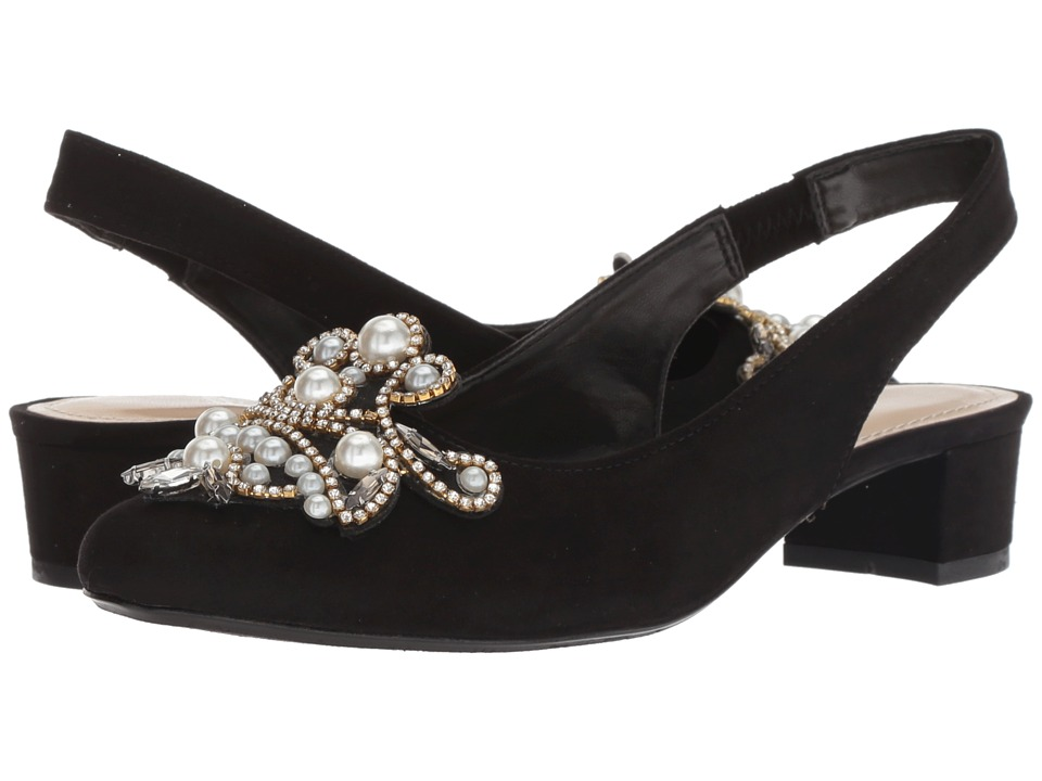 J. Renee Delroy (Black Suede/White Pearls) Women's Shoes
